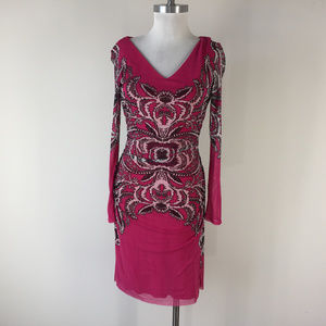 New Kay Unger S Hot PInk Black White Dress Ruched